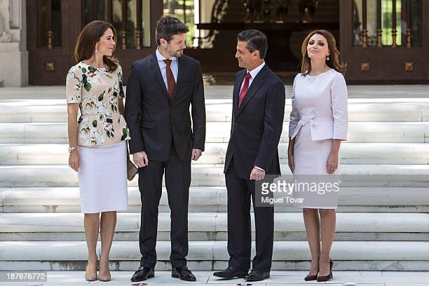 Mexican President Enrique Pe–ña Nieto and his wife the mexican first lady Angelica Rivero receive Crown Princess Mary of Denmark and Frederik André...