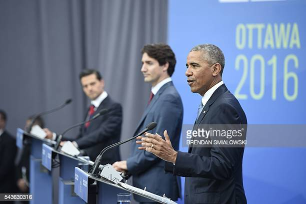 Mexican President Enrique Pena Nieto Canadian Prime Minister Justin Trudeau and US President Barack Obama speak during a press conference at the...