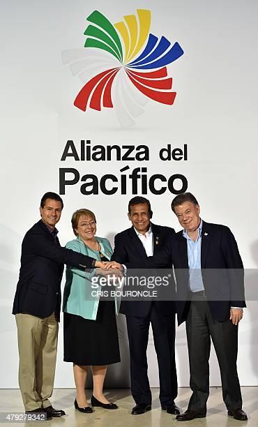 Mexican President Enrique Pena Nieto Chilean President Michelle Bachelet Peruvian President Ollanta Humala and Colombian President Juan Manuel Santos...