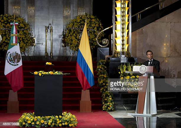 Mexican President Enrique Pena Nieto delivers a speech during the tribute to late Colombian Literature Nobel Prize laureate Gabriel Garcia Marquez at...