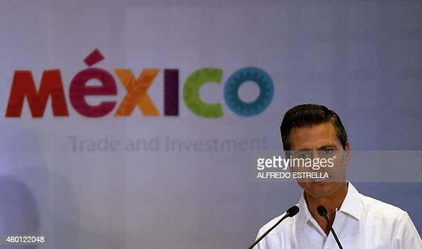 Mexican President Enrique Pena Nieto speaks during a meeting with businessmen December 7 2014 in Veracruz ahead of the XXIV IberoAmerican Summit AFP...