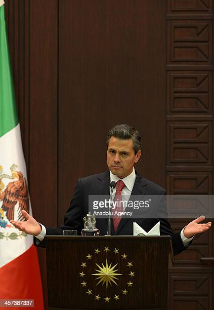 Mexican President Enrique Pena Nieto speaks during a press conference with Turkish President Abdullah Gul after their meeting at the Cankaya Palace...