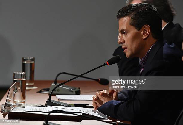 Mexican President Enrique Pena Nieto speaks during the inauguration of the 10th Pacific Alliance Summit in Paracas 250 km south of Lima on July 2...