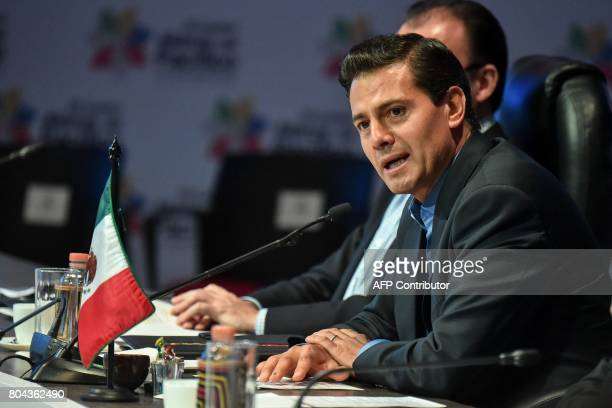 Mexican President Enrique Pena Nieto speaks during the opening ceremony of the XII Pacific Alliance Summit in Cali Valle del Cauca Departament...