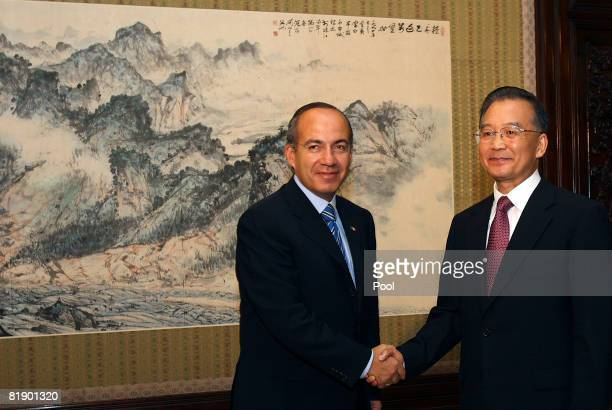 Mexican President Felipe Calderon shakes hands with Chinese Premier Wen Jiabao during a meeting at the Zhongnanhai compound on July 11 2008 in...