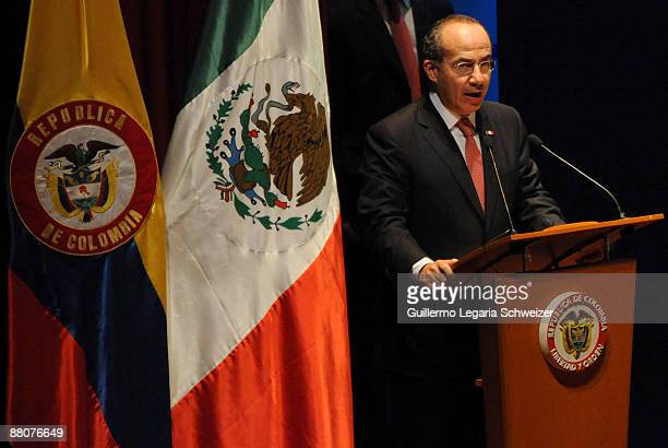 Mexican President Felipe Calderon speaks during the closure of the 5th Terrorism Victims International Congress on May 30 2009 in Medellin Colombia