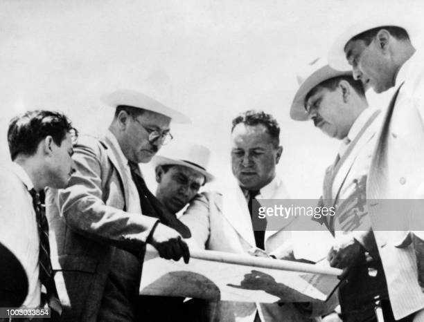 Mexican President Lazaro Cardenas looks at a map during a visit to the oil wells in Tamaulipas on July 2 1938