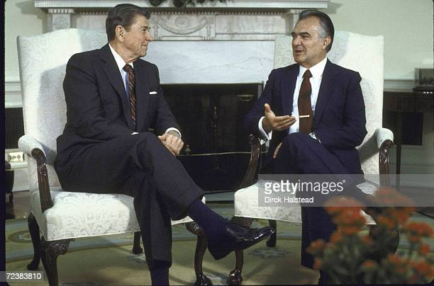 Mexican President Miguel de la Madrid with President Ronald Reagan at the White House
