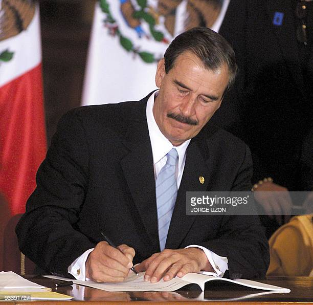 Mexican President Vicente Fox speaks during a signing of a political agreement between the government and political parties on national development...