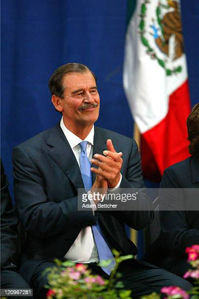 Mexican President Vicente Fox visits Cesar Chavez Academy in St Paul Minnesota on Friday June 18 2004 During his visit Fox announced a Mexican...