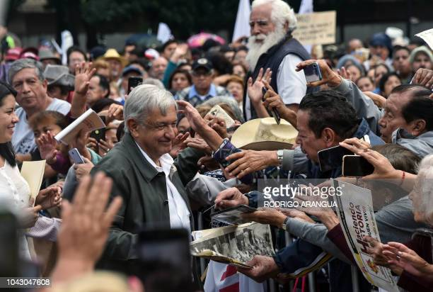 Mexican Presidentelect Andres Manuel Lopez Obrador greets people during his national tour to thank those who supported him in the July 1 elections at...