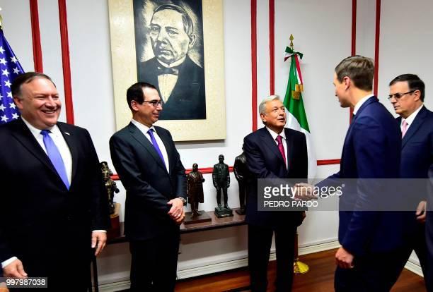 Mexican Presidentelect Andres Manuel Lopez Obrador shakes hands with White House advisor Jared Kushner next to US Treasury Secretary Steven Mnuchin...