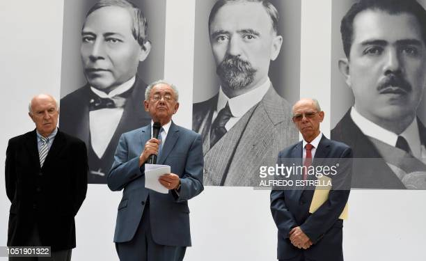 Mexican Presidentelect Andres Manuel Lopez Obrador's appointed Minister of Communications and Transportation Javier Jimenez Espriu speaks flanked by...