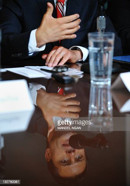 Mexican presidential hopeful Enrique Pena Nieto gestures as he speaks at the Woodrow Wilson Center November 14, 2011 in Washington, DC. AFP...