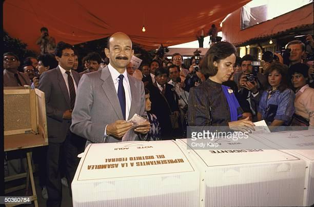 Mexican PRI Presidential candidate Carlos de Salinas Gortari voting in the presidential election.