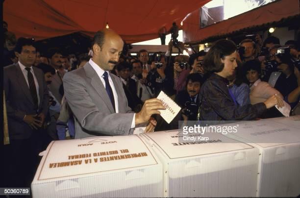 Mexican PRI Presidential candidate Carlos de Salinas Gortari voting in the presidential election
