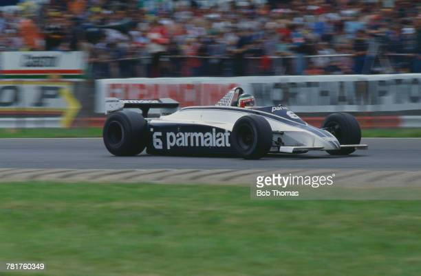 Mexican racing driver Hector Rebaque drives the Parmalat Racing Team Brabham BT49C Ford Cosworth DFV 30 V8 to finish in 5th place in the 1981 British...