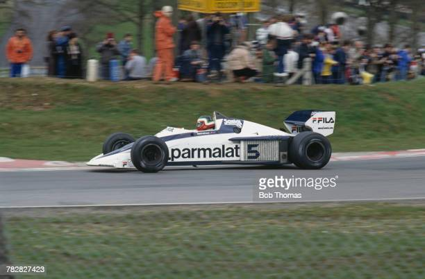 Mexican racing driver Hector Rebaque drives the Parmalat Racing Team Fila Sport Brabham BT52 BMW S4t in the 1983 Race of Champions at Brands Hatch...