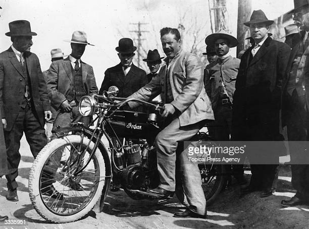 Mexican rebel leader Francisco 'Pancho' Villa with one of the motorcycles used in the Battle of Torrero It is a Hendee Special Indian motorcycle