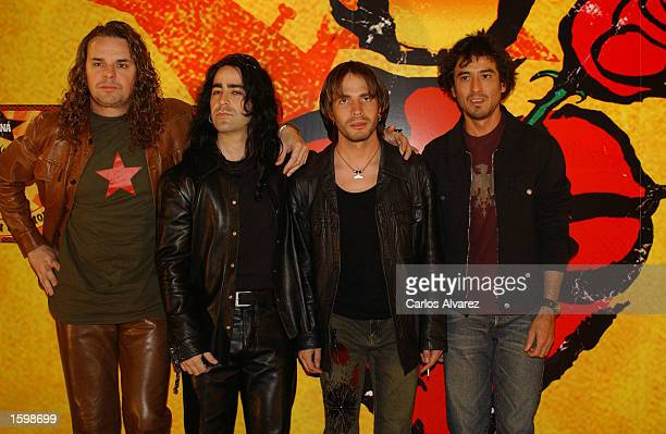 Mexican rock band Mana attend a photo call to promote their new album Revolucion de amor November 8 2002 at Villamgna Hotel in Madrid Spain