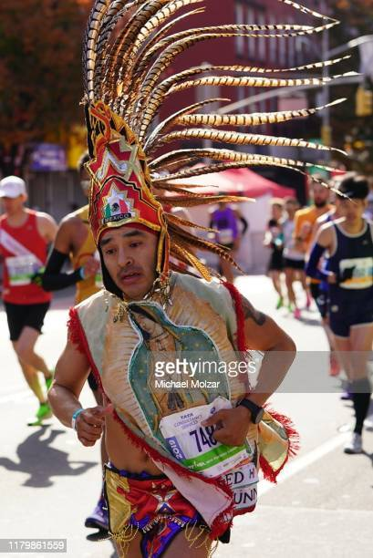 Mexican runner wearing a great costume during 2019 TCS New York City Marathon in New York City on November 3, 2019 in New York City.