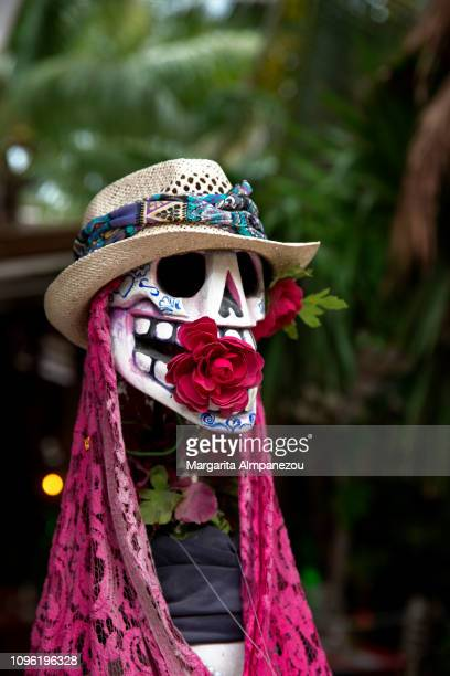mexican scull decorated with a hat and a rose - day of the dead festival stock photos and pictures