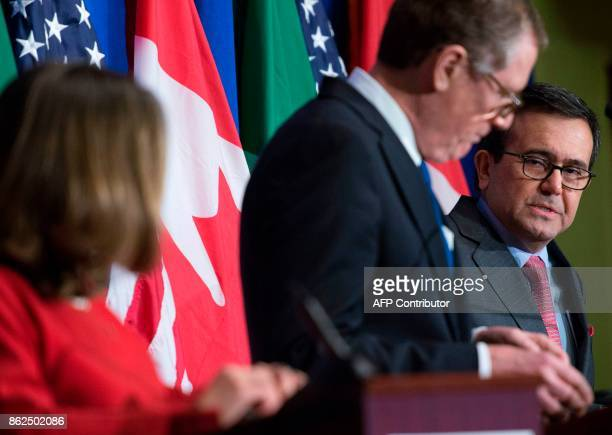 Mexican Secretary of Economy Ildefonso Guajardo Villarreal speaks as United States Trade Representative Robert Lighthizer and Canadian Foreign...