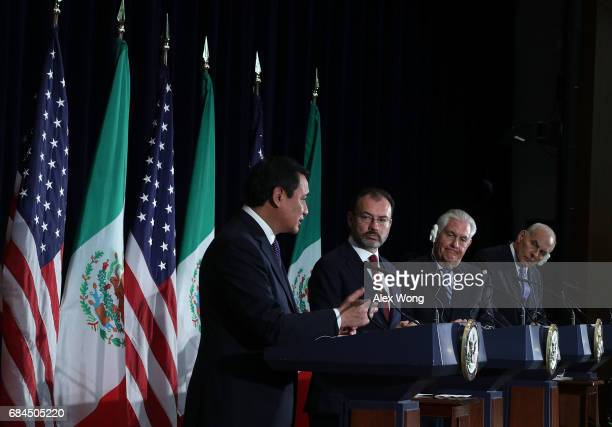 Mexican Secretary of Government Miguel Angel Osorio Chong Mexican Foreign Secretary Luis Videgaray US Secretary of State Rex Tillerson and US...
