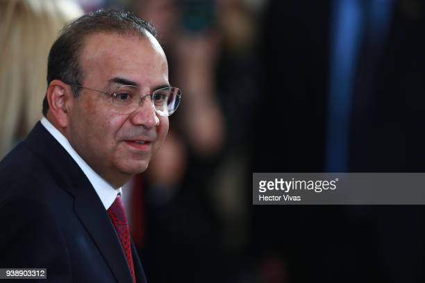 Mexican Secretary of the Interior Alfonso Navarrete looks on after a press conference at the Mexican Government Office on March 26 2018 in Mexico...