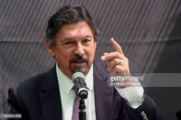 Mexican Senator Napoleon Gomez Urrutia speaks during a press conference in Mexico City on August 30 2018 Gomez Urrutia a controversial mining leader...