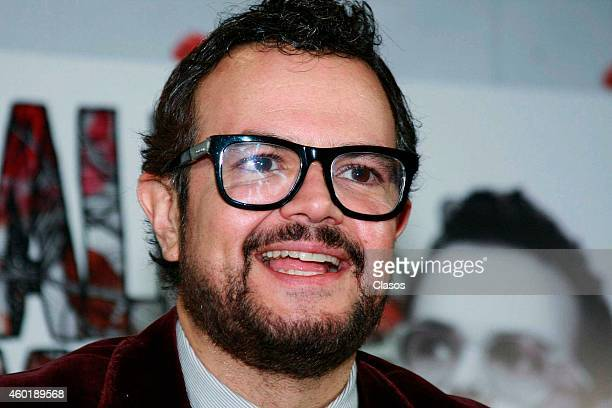 Mexican singer Aleks Syntek unveils his new album and dvd Romantico Desliz during a press conference at Sony Music on December 08 2014 in Mexico City...