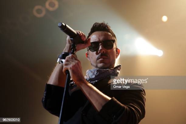 Mexican singer Alfonso Pichardo of Electronic band Moenia performs during the Belanova and Moenia Concert as part of the 'Fantom' USA Tour 2018 at...