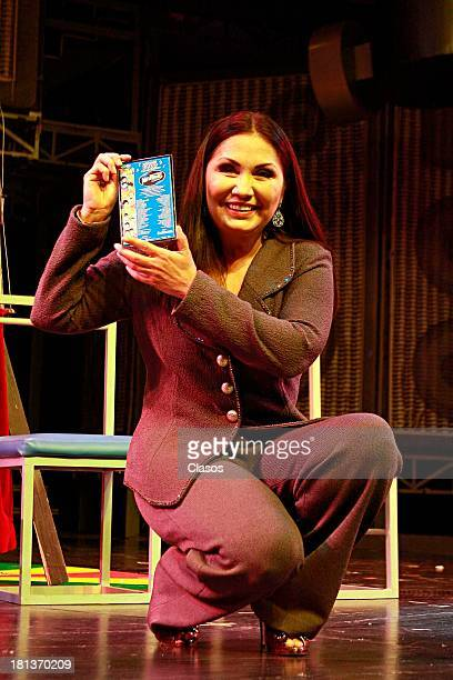 Mexican singer Ana Gabriel speak to the press during the celebration of the 1600 representations of 'Mentiras' Musical at Mexico Theater on September...