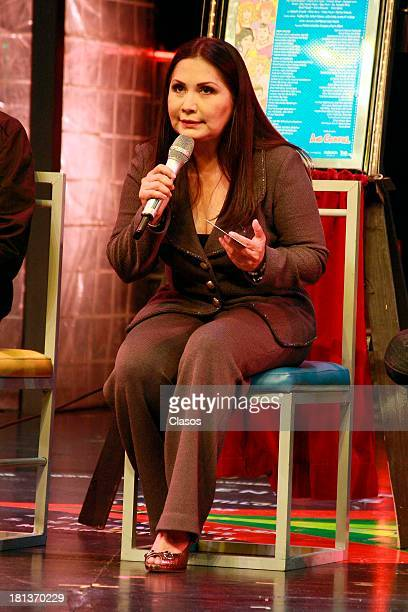 Mexican singer Ana Gabriel speak to the press during the celebration of the 1600 representations of Mentiras Musical at Mexico Theater on September...
