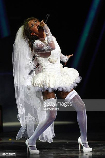 Mexican singer Anahi performs during the 51th International Song Festival on February 23 2009 in Vina Del Mar Chile