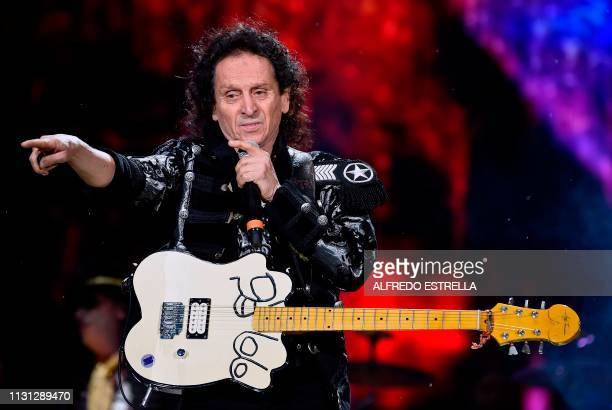 Mexican singer and composer Alex Lora of the band El Tri performs during the second day of the 'Vive Latino' music festival in Mexico City on March...