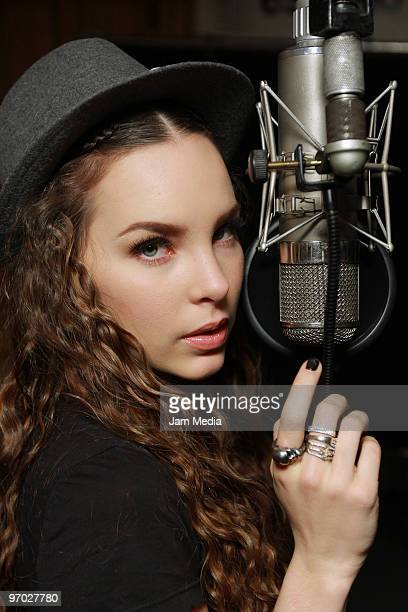 Mexican singer Belinda during the recording of a spanish version of the song 'We Are the World' in order to raise money to help Haiti earthquake...