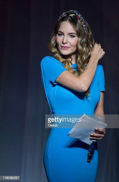Mexican Singer Belinda looks on during her presentation as the new Brand image of Fiat on August 27 2013 in Mexico City Mexico