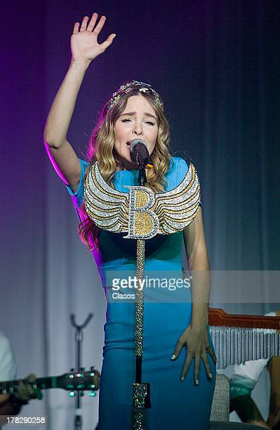 Mexican Singer Belinda performs during her presentation as the new Brand image of Fiat on August 27 2013 in Mexico City Mexico