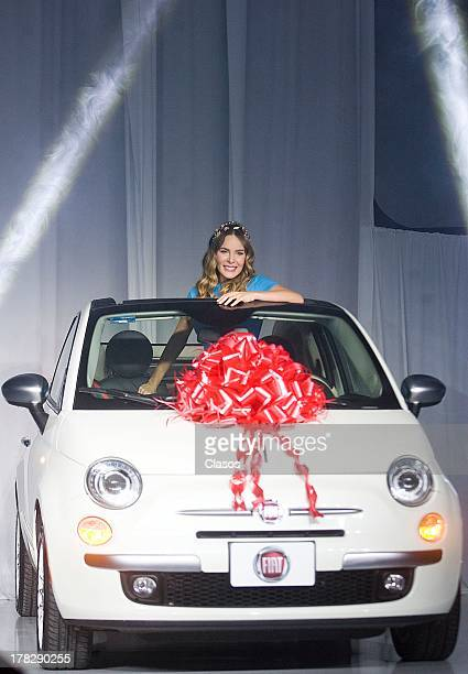 Mexican Singer Belinda poses for a photo during her presentation as the new Brand image of Fiat on August 27 2013 in Mexico City Mexico