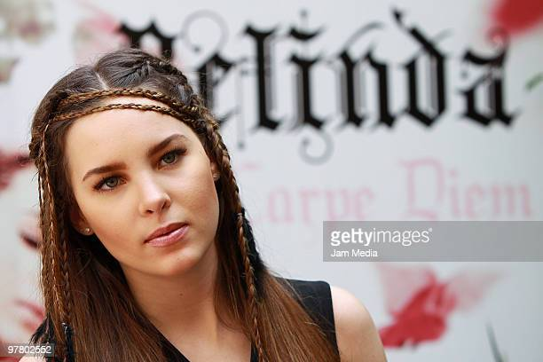 Mexican singer Belinda poses for a photograph during the presentation of her new album 'Carpe Diem' on March 17 2010 in Mexico City Mexico