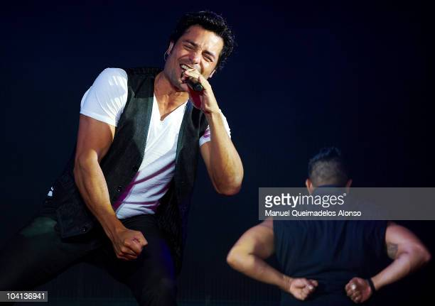 Mexican singer Chayanne performs during a concert at the Veles e Vents zone on September 15, 2010 in Valencia, Spain.