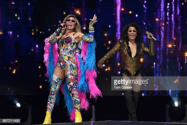 Mexican singer Gloria Trevi and Alejandra Guzman perform during the 'VERSUS World Tour' at the Pepsi Center on March 23 2018 in Denver Colorado
