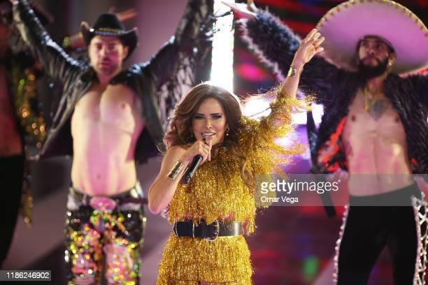 Mexican singer Gloria Trevi performs on stage during The Premios de la Radio 2019 at Verizon Theater on November 7 2019 in Grand Prairie Texas