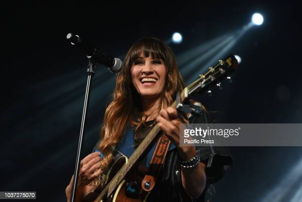 Mexican singer Hanna Nicole Pérez Mosa of Pop duo HaAsh during her concert '30 de febrero' at 'La Riviera' in Madrid