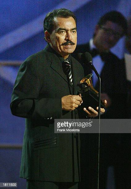 Mexican singer Joan Sebastian speaks on stage during the 45th Annual Grammy Awards Pre Telecast Music Show at Madison Square Garden on February 23...