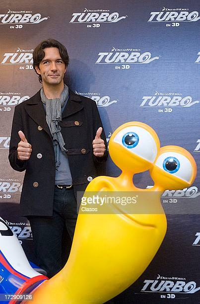 Mexican singer Leonardo De Lozanne poses during a press conference to present the movie Turbo on July 5, 2013 in Mexico City, Mexico.