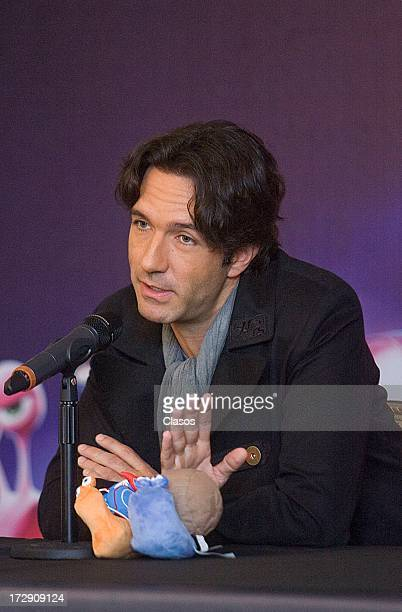 Mexican singer Leonardo De Lozanne talks to the media during a press conference to present the movie Turbo on July 5, 2013 in Mexico City, Mexico.