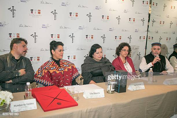 Mexican Singer Lila downs speaks at a press conference presenting the new alcoholic drink 'Arte Mezcal' at Los Danzantes Restaurant on November 24...