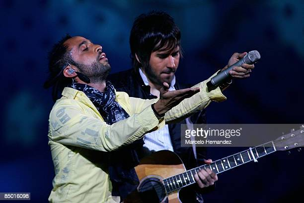 Mexican singer Mario Domm and Pablo Hurtado of the group Camila perform during the 50th Vina Del Mar Song Festival on February 24, 2009 in Vina Del...